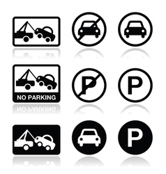 No parking parking forbidden sign vector image