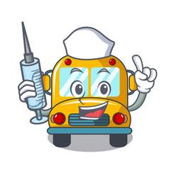 nurse school bus character cartoon vector image