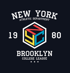Nyc design for t-shirt new york brooklyn vector