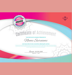 Official white certificate with pink blue wave vector