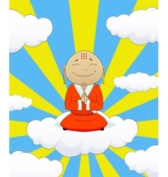 on cartoon asian monk vector image