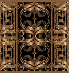opper coloured ornate greek 3d seamless pattern vector image