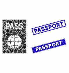 Passport mosaic and scratched rectangle stamps vector
