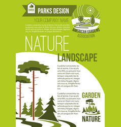 Poster green nature landscaping company vector