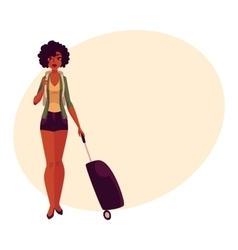 Pretty African American girl woman traveler with vector