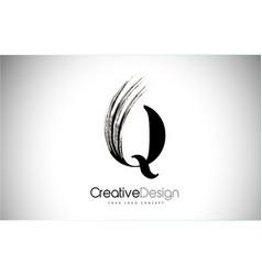 Q brush stroke letter logo design black paint vector