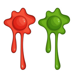 Red and green slime spot icon cartoon style vector