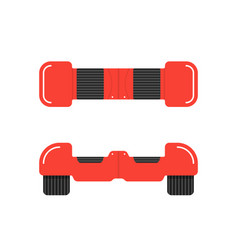 Red hoverboard front and top view vector