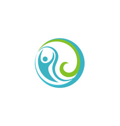 round eco water people logo vector image