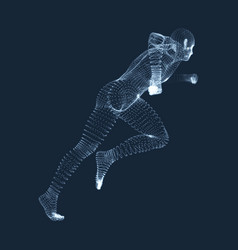 running man 3d human body wire model grid vector image
