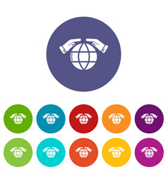 Safe planet icons set color vector