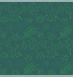 seamless pattern hand drawn leaves vector image