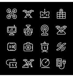 Set line icons of quadrocopter vector image