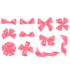 set of pink satin gift bows and ribbons vector image