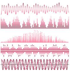 set of pink sound waves vector image