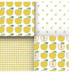 set of seamless patterns with cartoon yellow vector image
