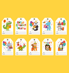 Set of tags with funny animals happy birthday vector