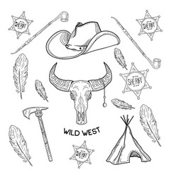 set of wild west american indian designed elements vector image