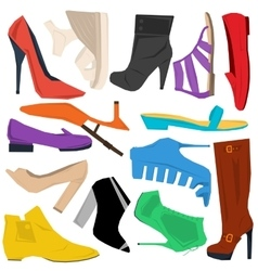 Set of women shoes in flat style vector image
