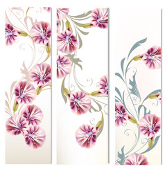 Set three vertical floral banners for your vector