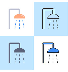 shower icon set in flat and line style vector image