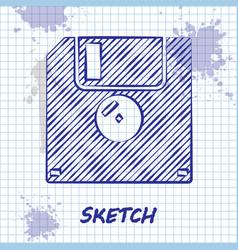 Sketch line floppy disk for computer data storage vector