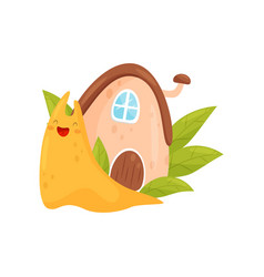 Snail with cozy house on its back funny mollusk vector