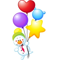 snowman flying with colorful balloons vector image