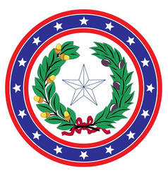 Star circle red white and blue texas background vector