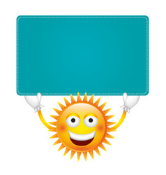 sticker happy sun with blue board in the hands vector image