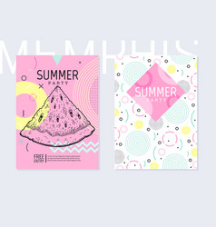 Summer party poster pattern set geometric memphis vector