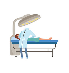 Surgeon with patient on a table operating doctor vector