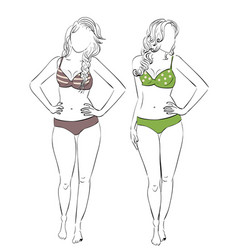 Swimsuit for pear body type vector