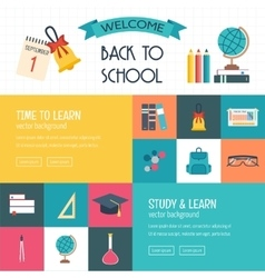 Three horizontal banners with school and education vector image