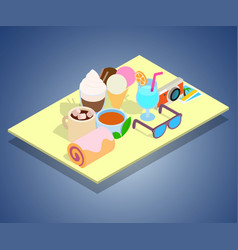 Tourist breakfast concept banner isometric style vector