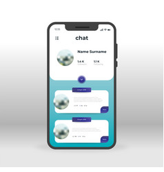 User chat profile ui ux gui screen for mobile vector