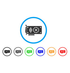 video gpu card rounded icon vector image