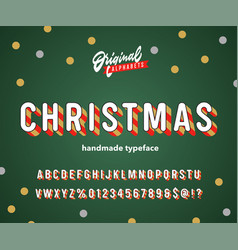 vintage 3d christmas striped alphabet vector image