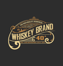 vintage old design whiskey label style vector image