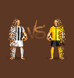 white and yellow soccer players holding vintage vector image