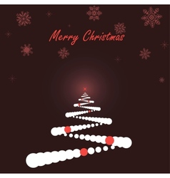 White Christmas tree on dark background vector image