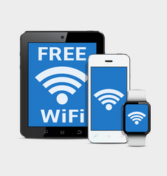 Wireless technology gadgets and wifi internet vector