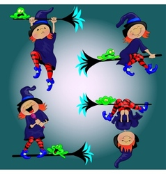 Witch and the FrogBackground vector image