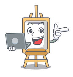 With laptop easel character cartoon style vector