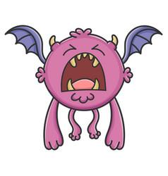 Yelling purple flying cartoon bat monster vector