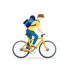 young man riding a bicycle vector image