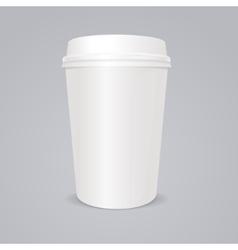 empty coffee paper cup with lid vector image vector image