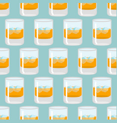Glass of whiskey and ice seamless pattern scotch vector
