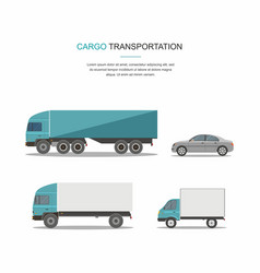 Set blue cargo delivery truck vector