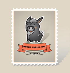 world animal day card with a cute donkey vector image vector image